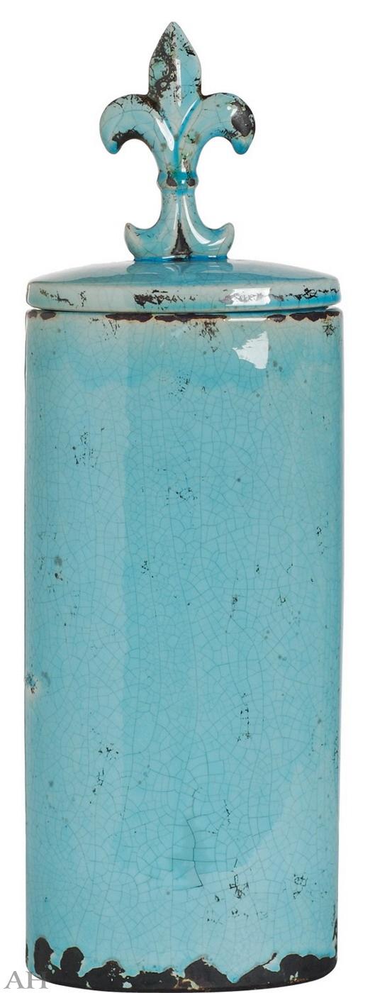Ваза с крышкой 16,5 х 11 х 51 см, 66641-BLUE
