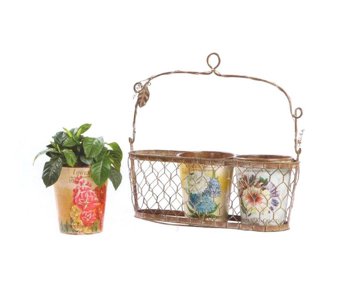 Подвесная корзинка с декоративными горшками для цветов Fleurette