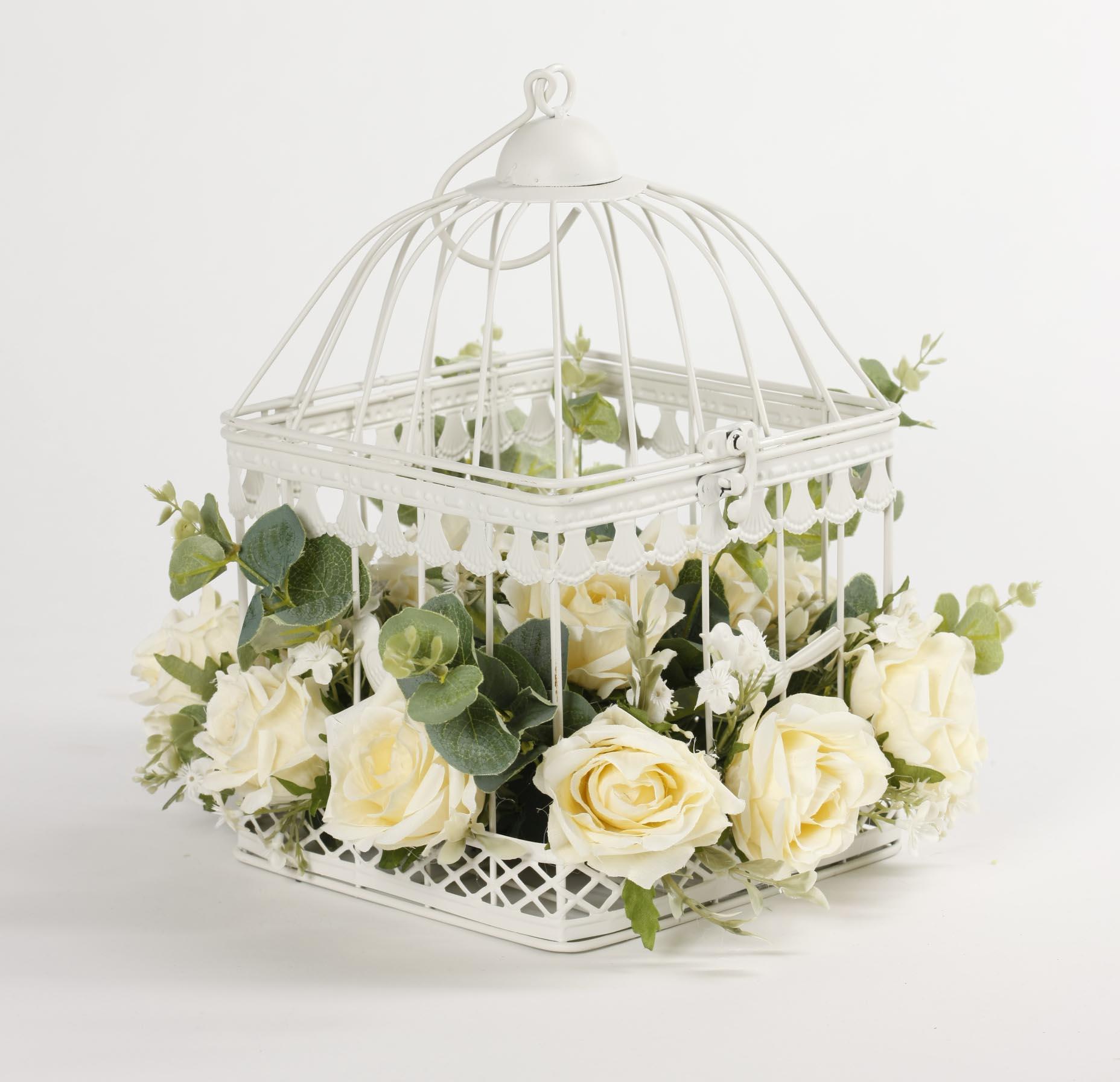 Клетка квадратная с цветами Dolce rosa 30 см