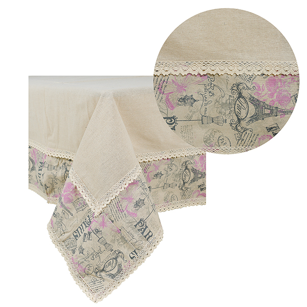 Скатерть бежевая с двойным кружевом розовый Paris,лен (150х150) 0399-5/150х150