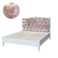 Кровать двуспальная белая с мягкий изголовьем