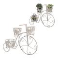 Цветочная подставка-велосипед металлическая Белый ажур