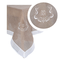 Скатерть бежевая с вышивкой 140х140 2589-105M(140x140)