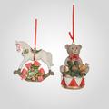 Подвеска Новогодняя Мишка на Барабане/Лошадка-Качалка (полистоун,от 4-х штук)
