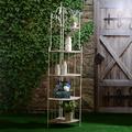 Стеллаж Металлический Угловой на 5 Деревянных Полок 205 см.