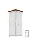 Шкаф 2-х дверный итальянский орех + белый с эффектом старения
