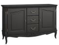 Комод широкий 3 ящика + 2 распашн. фасада Belverom Black (черный)