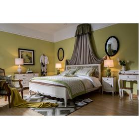 Кровать из бежевого дерева с мягким цветным изголовьем GW12M