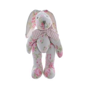 Кролик белый в цветочек 30см AM10130-2