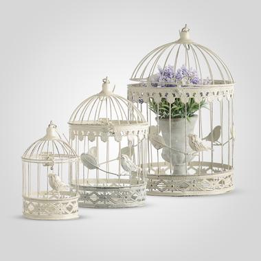 Декоративные клетки с птичкой Белый ажур YW40017