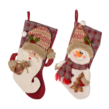 Новогодний носочек Дед мороз и снеговик (от 2х штук) 93933A/B