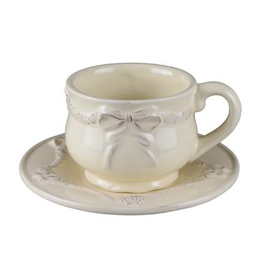 Чашка с блюдцем Изящный бантик T18409-1
