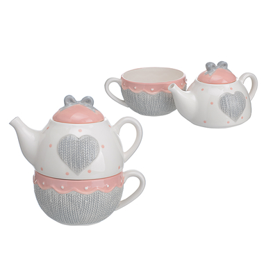 Чайная Пара Чайник и Чашка Изящный Бант (Фарфор)