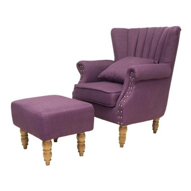 Кресло с пуфом Lab violet