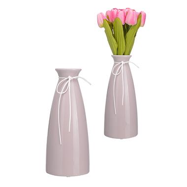 Керамическая Ваза-Бутылка Сиреневый Крем Большая