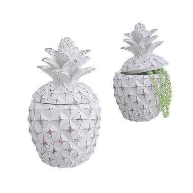 Шкатулка полистоун Белый ананас