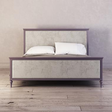 Кровать с мягким изголовьем 180*200 Riverdi, орхидея, с изножьем