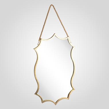 Зеркало Металлическое Золотистое на Веревке