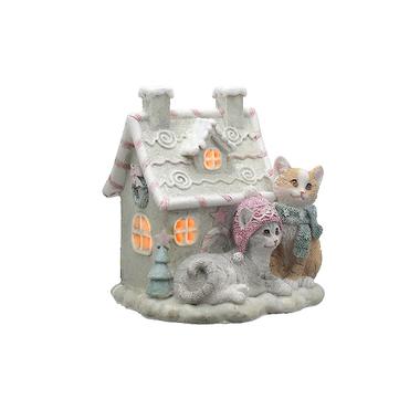 Кошечки у Зимнего Домика с Подсветкой (Полистоун)