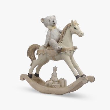 Мишка Новогодний с Подарочками на Лошадке (Полистоун)