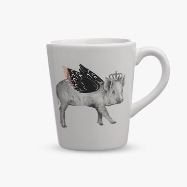 Чашка керамическая Королевская свинка с золотистыми крыльями