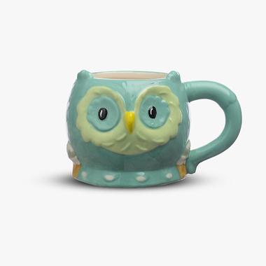 Чашка-Сова Керамическая Бирюзовая