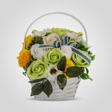 Цветочная Композиция в Корзиночке Желтый/Зеленый