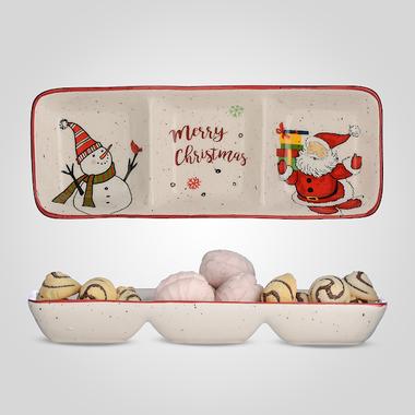 Блюдо керамическое Новогоднее для Снэков на Три Секции