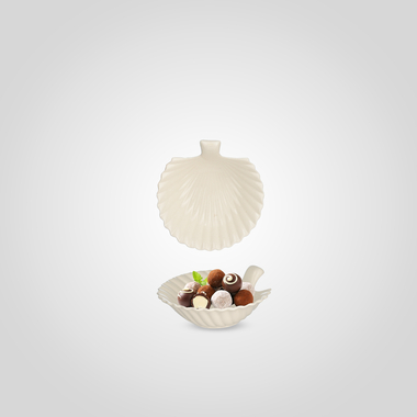 Конфетница-Волнистый Лист Керамическая Белая Малая