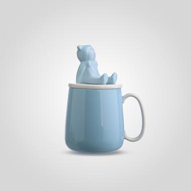 Кружка Керамическая с Крышкой-Медвежонком Синяя