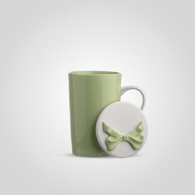 Кружка Керамическая с Крышкой Зеленая