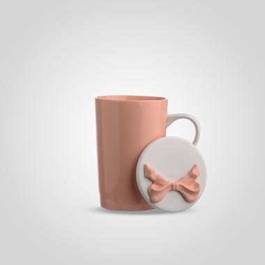 Кружка Керамическая с Крышкой Розовая