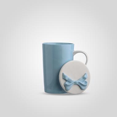 Кружка Керамическая с Крышкой Синяя