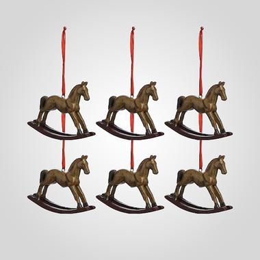 Елочная Новогодняя Подвеска-Лошадка (Полистоун, 6 штук)