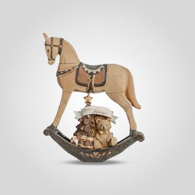 Лошадка-Качалка Новогодняя Декор (полистоун)