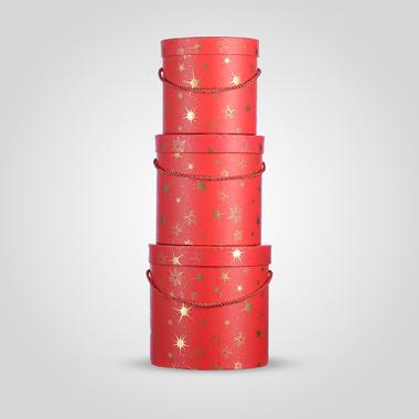 Набор из Трех Подарочных Коробок Красный