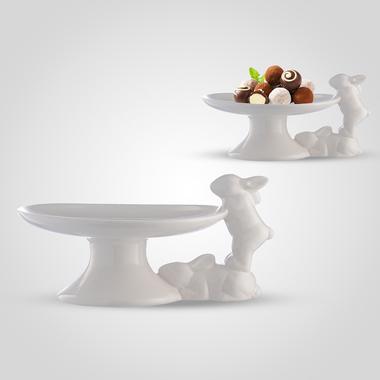 Керамическая Тортница Кролики шалунишки
