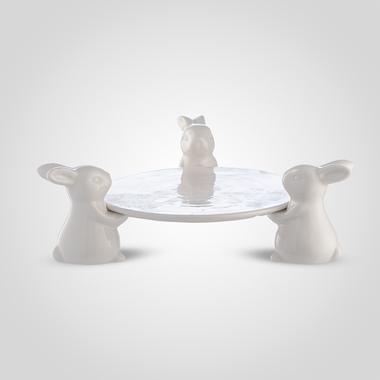 Керамическая Тортница Тройка кроликов