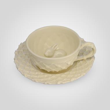 Чашка и блюдце с кроликом Крем де ла крем