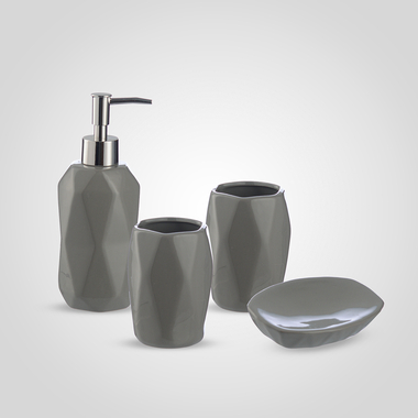 Керамический Набор Аксессуаров для Ванной Комнаты в стиле Арт-Деко Серый
