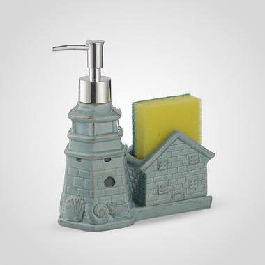 Керамический Диспенсер-Домик для Мыла/Жидкости для Мытья Посуды Синий
