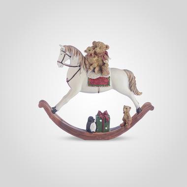 Лошадка-Качалка Новогодняя с Мишками Большая (Полистоун)