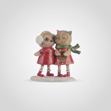 Совушки Пара с Новогодним Венком (Полистоун)