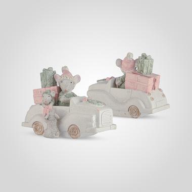 Копилка-Мышки на Машине с Подарками (Полистоун)