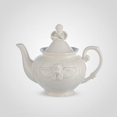 Чайник Заварочный Фарфоровый Кремовый с Ангелочком