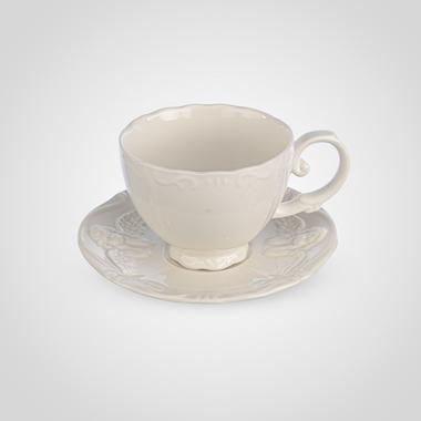 Чашка и Блюдце с Ангелочком Кремовый Фарфор
