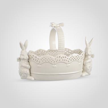 Белая Конфетница-Корзинка из Фарфора с Кроликами-Милашками