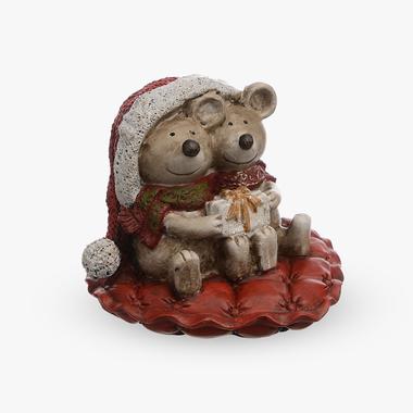 Мышата в Новогодней Шапочке с Подарками (Полистоун)