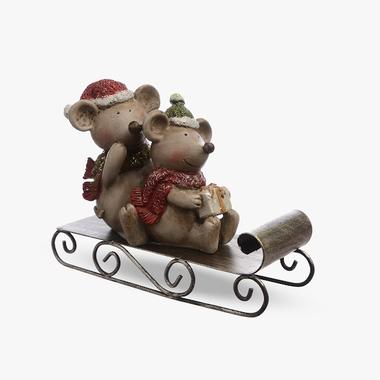 Мышата с Подарками на Санках (Полистоун)