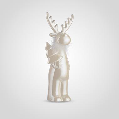 Декоративный Кремовый Олень с Елочкой и Перьями Большой (Керамика)